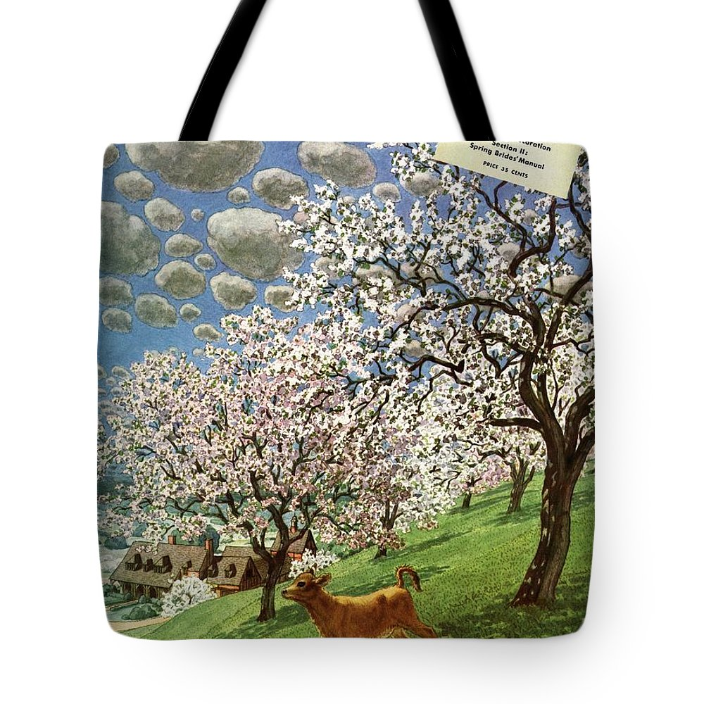 Illustration Tote Bag featuring the photograph A House And Garden Cover Of A Calf by Pierre Brissaud