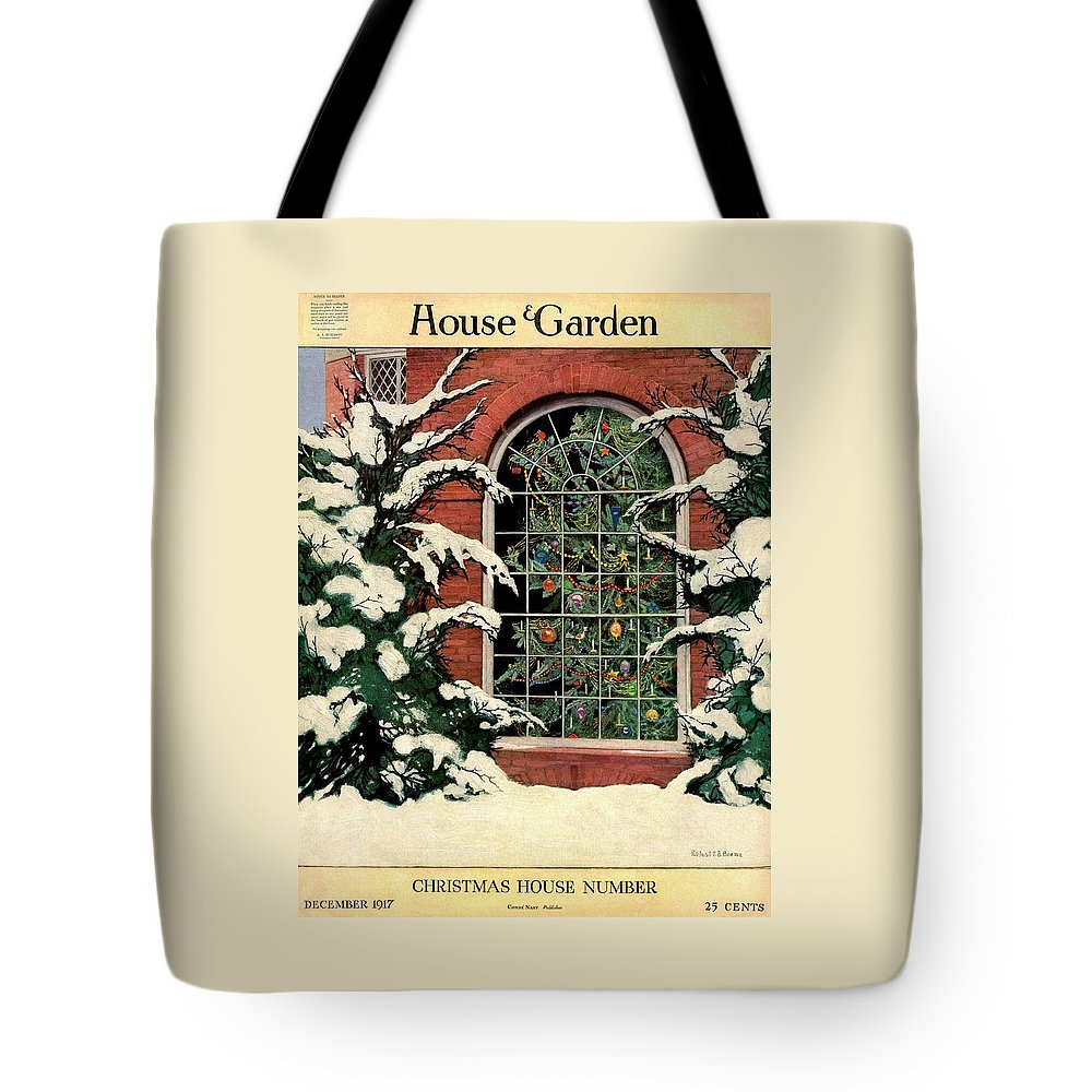 Illustration Tote Bag featuring the photograph A House And Garden Cover Of A Christmas Tree by Ethel Franklin Betts Baines