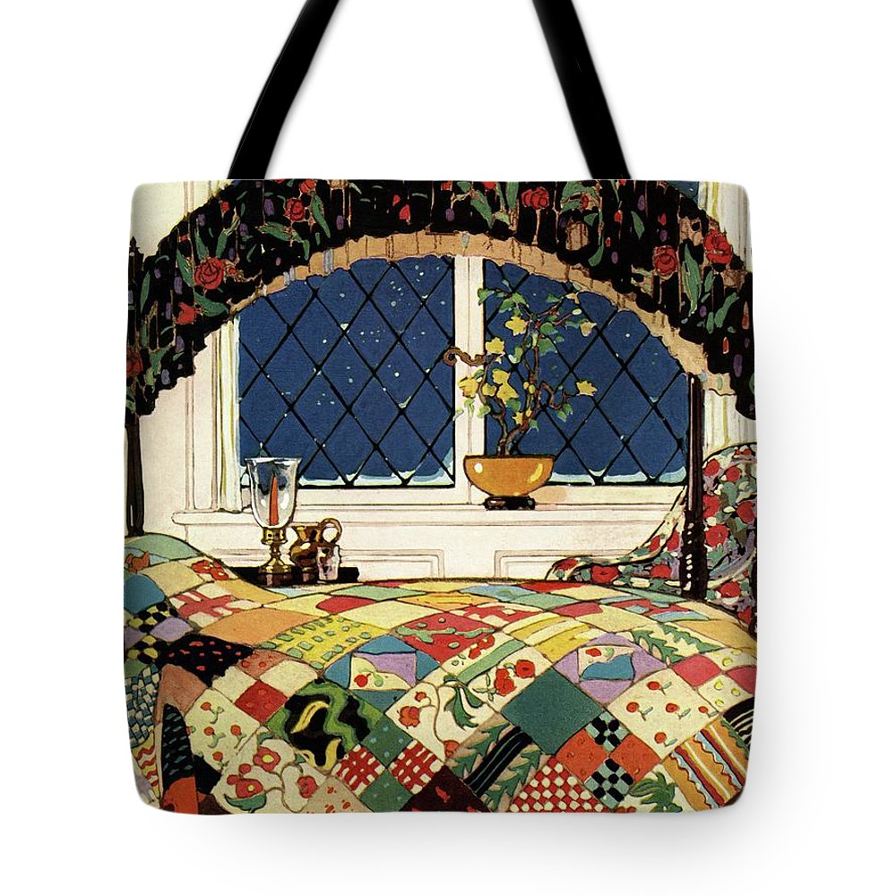 Illustration Tote Bag featuring the photograph A House And Garden Cover Of A Four-poster Bed by Clayton Knight