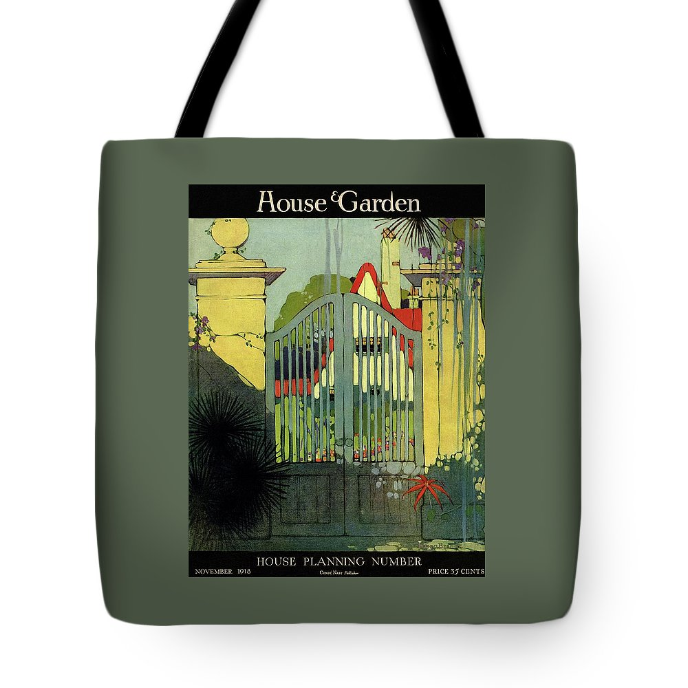 Illustration Tote Bag featuring the photograph A House And Garden Cover Of A Gate by H. George Brandt