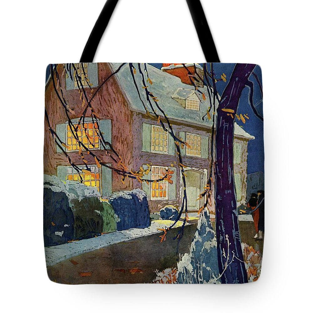 Illustration Tote Bag featuring the photograph A House And Garden Cover Of A House In Winter by Porter Woodruff