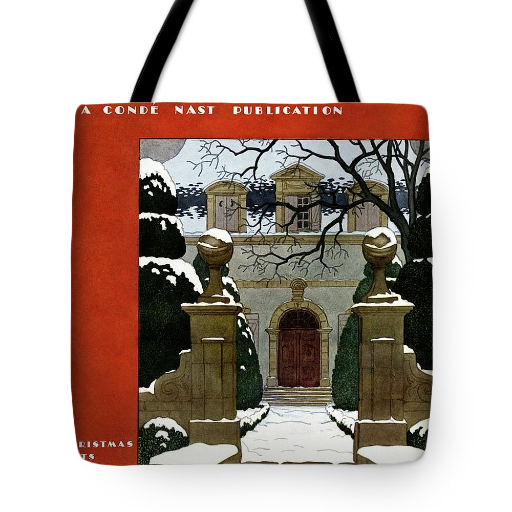 Exterior Tote Bag featuring the photograph A House And Garden Cover Of A Mansion by Pierre Brissaud