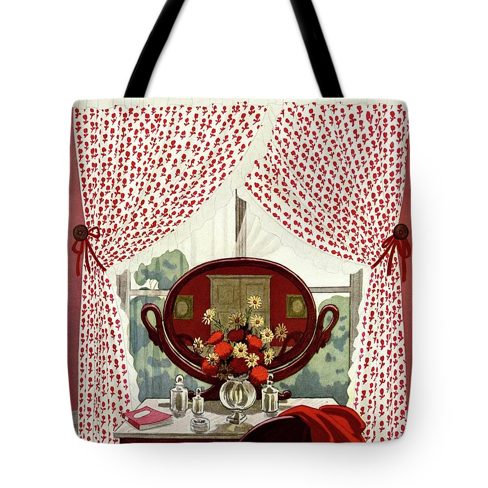 Illustration Tote Bag featuring the photograph A House And Garden Cover Of A Mirror by Pierre Brissaud