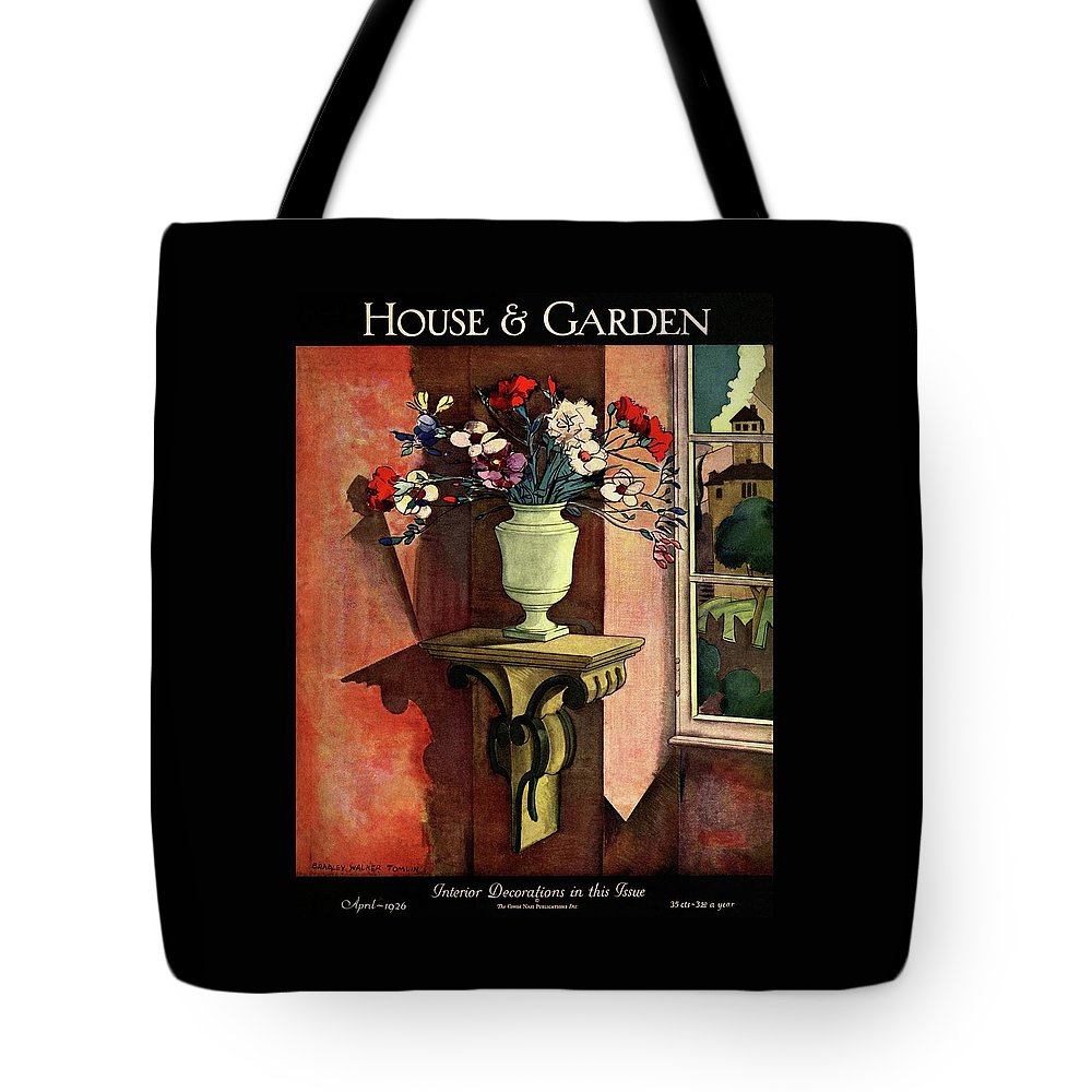 Illustration Tote Bag featuring the photograph A House And Garden Cover Of A Vase Of Flowers by Bradley Walker Tomlin
