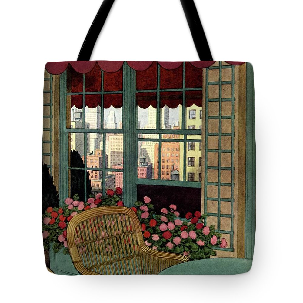 Illustration Tote Bag featuring the photograph A House And Garden Cover Of A Wicker Chair by Pierre Brissaud