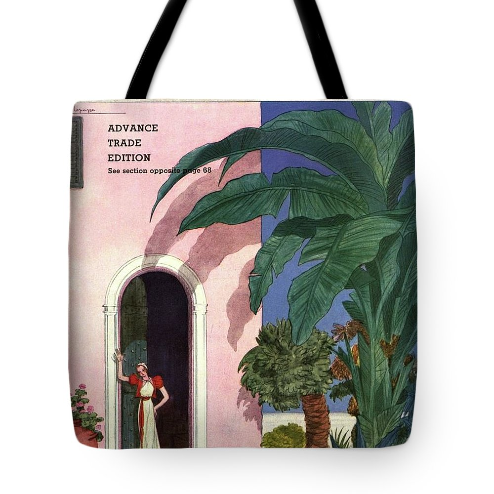 Illustration Tote Bag featuring the photograph A House And Garden Cover Of A Woman In A Doorway by Georges Lepape