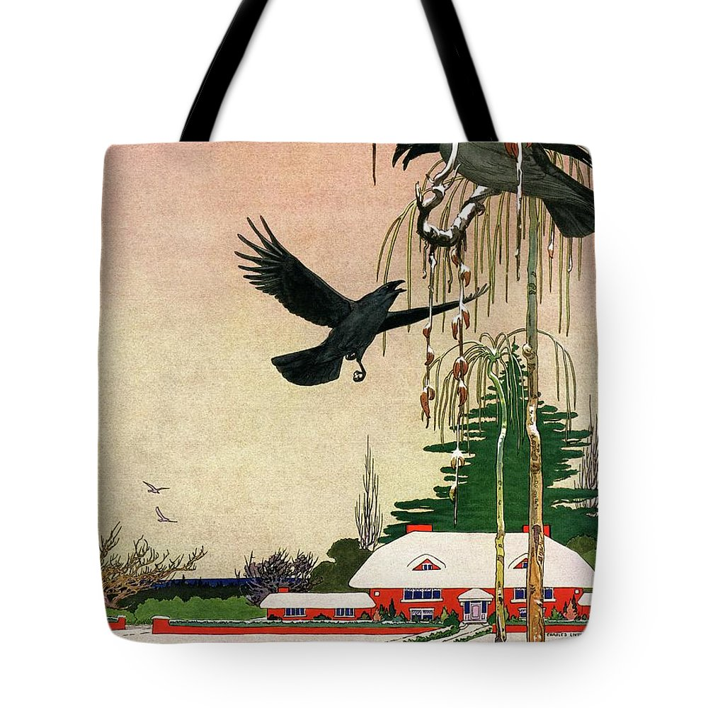 Illustration Tote Bag featuring the photograph A House And Garden Cover Of Crows By A House by Charles Livingston Bull