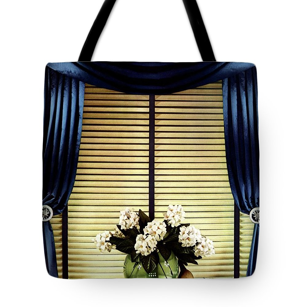 Illustration Tote Bag featuring the photograph A House And Garden Cover Of Flowers By A Window by Anton Bruehl