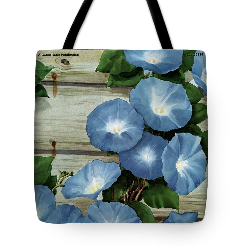 Illustration Tote Bag featuring the photograph A House And Garden Cover Of Flowers by Carl Broemel