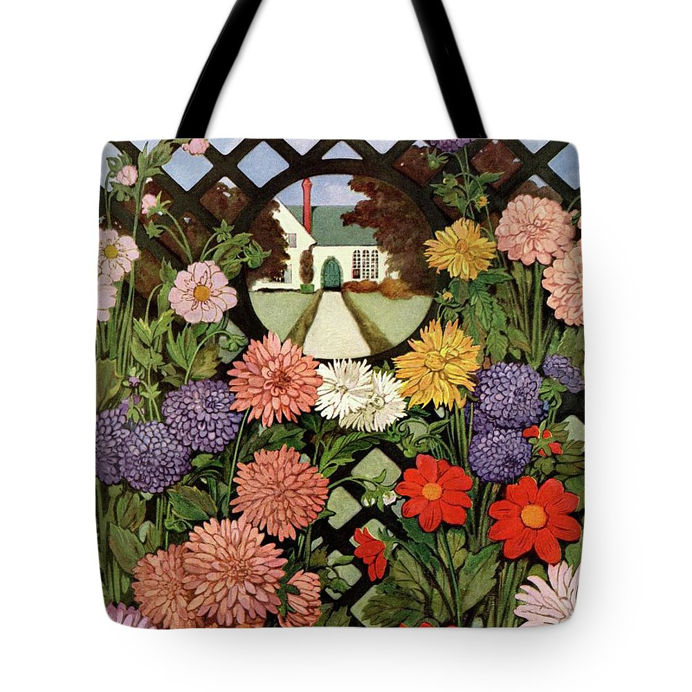 Illustration Tote Bag featuring the photograph A House And Garden Cover Of Flowers by Ethel Franklin Betts Baines