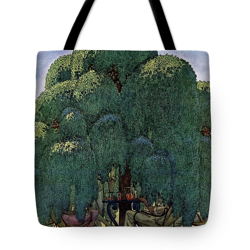 Illustration Tote Bag featuring the photograph A House And Garden Cover Of People Dining by Pierre Brissaud