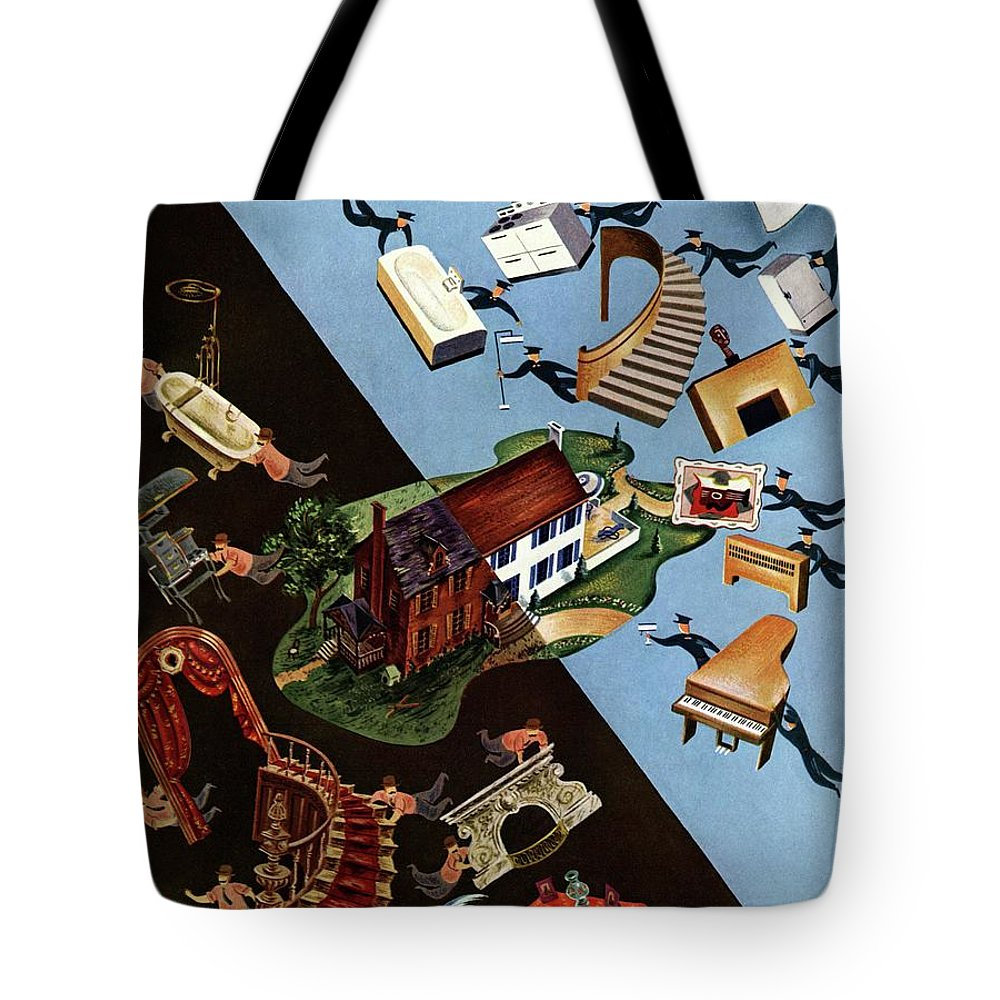 Illustration Tote Bag featuring the photograph A House And Garden Cover Of People Moving House by Constantin Alajalov