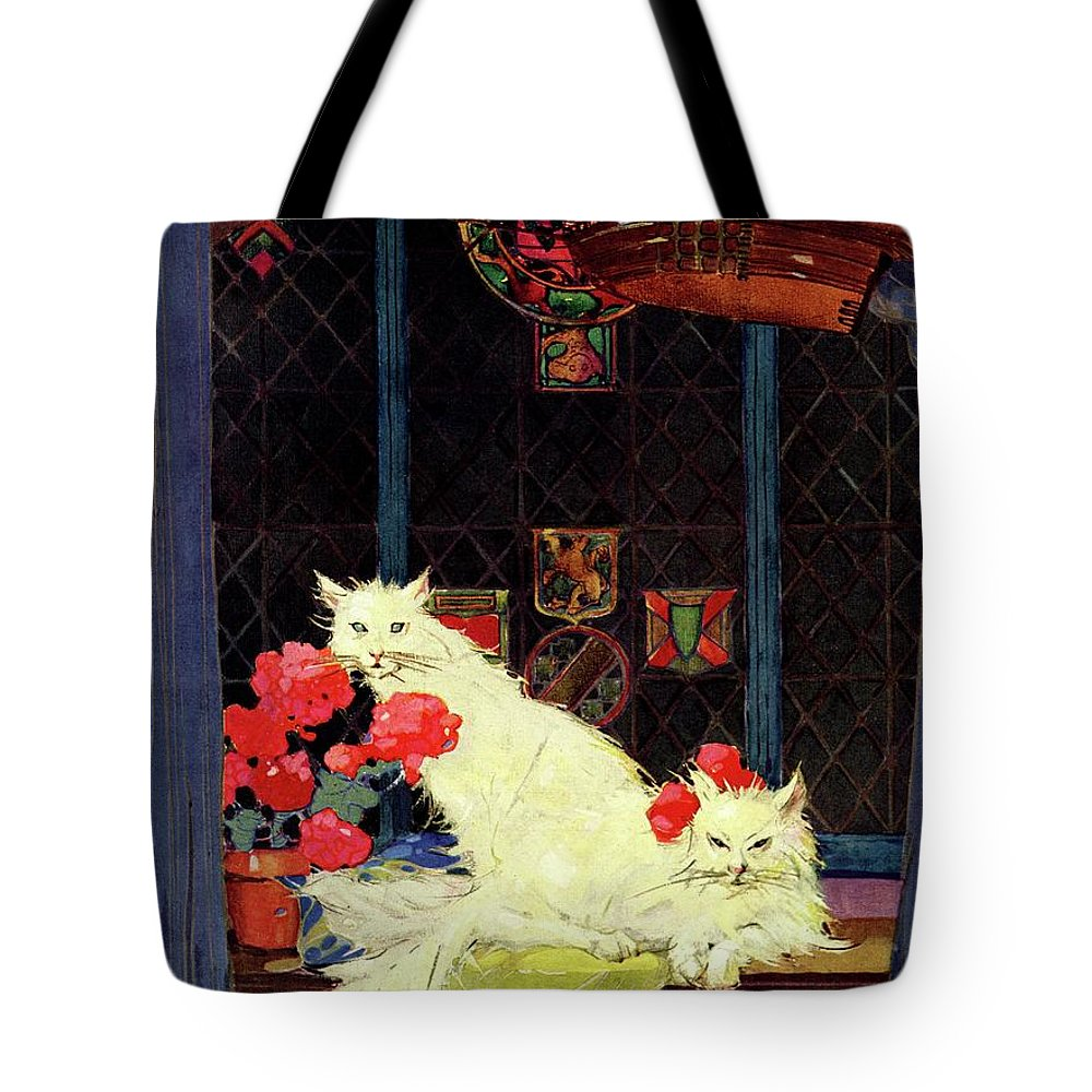 Illustration Tote Bag featuring the photograph A House And Garden Cover Of White Cats by Bradley Walker Tomlin