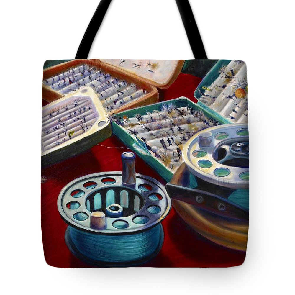 Still Life Tote Bag featuring the painting A Howard Runs Through It by Shannon Grissom