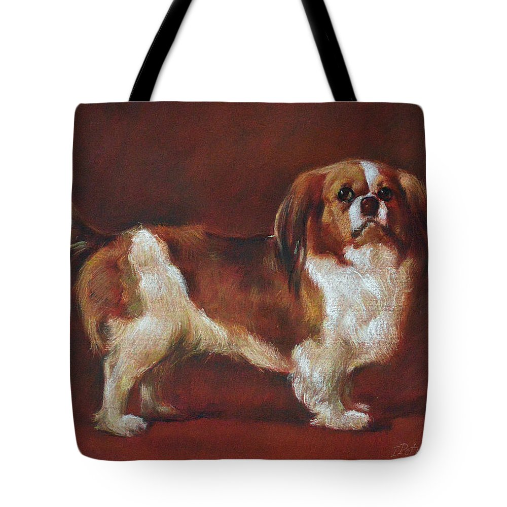 Pastel Tote Bag featuring the painting A King Charles Spaniel by Iliyan Bozhanov