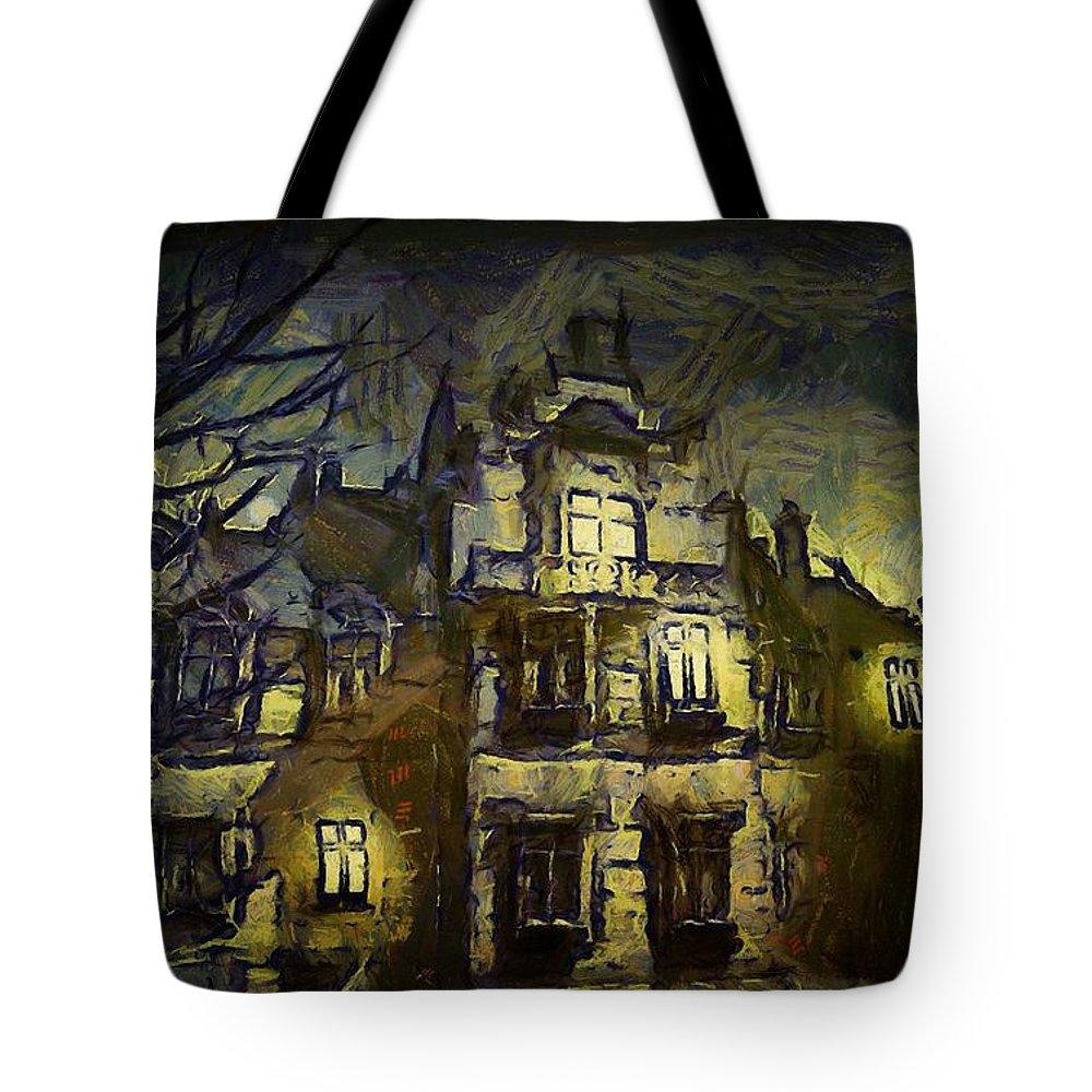 Landscape Tote Bag featuring the digital art a la van Gogh by Gun Legler