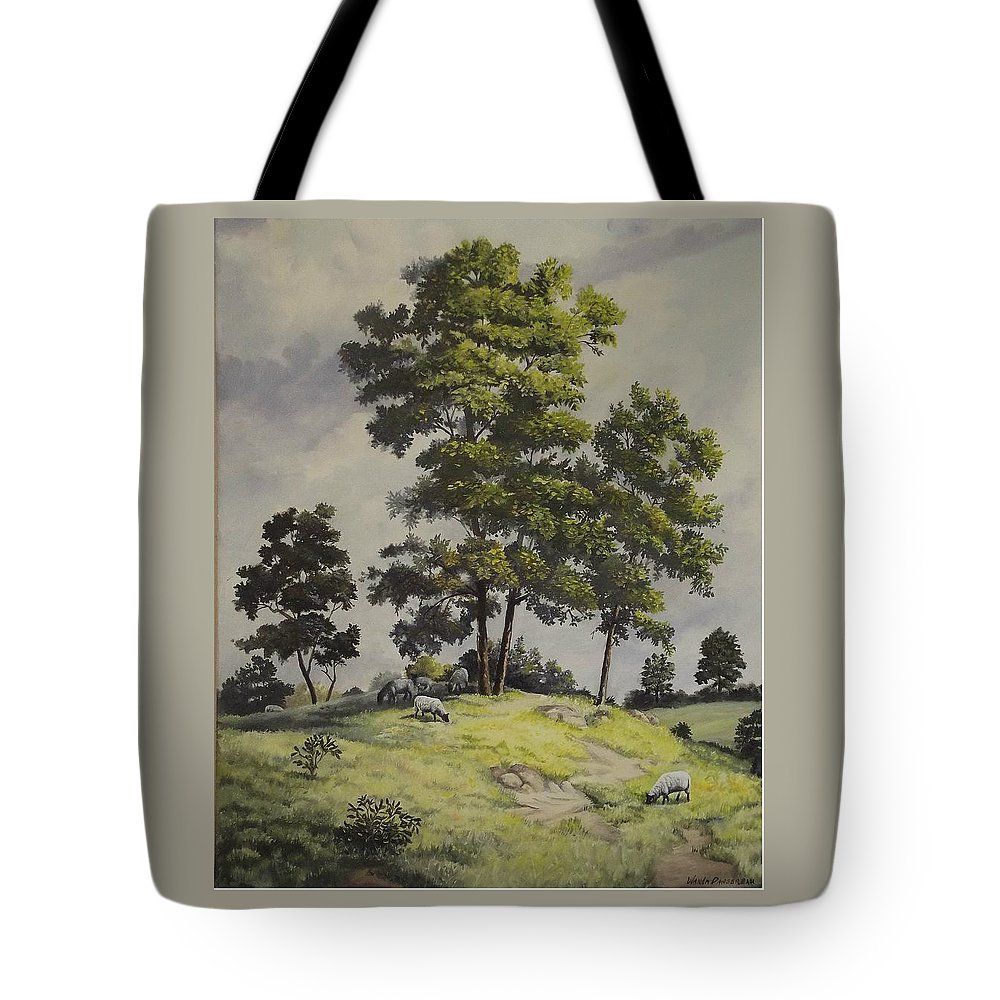 Landscape Tote Bag featuring the painting A Lazy Day For Grazing by Wanda Dansereau