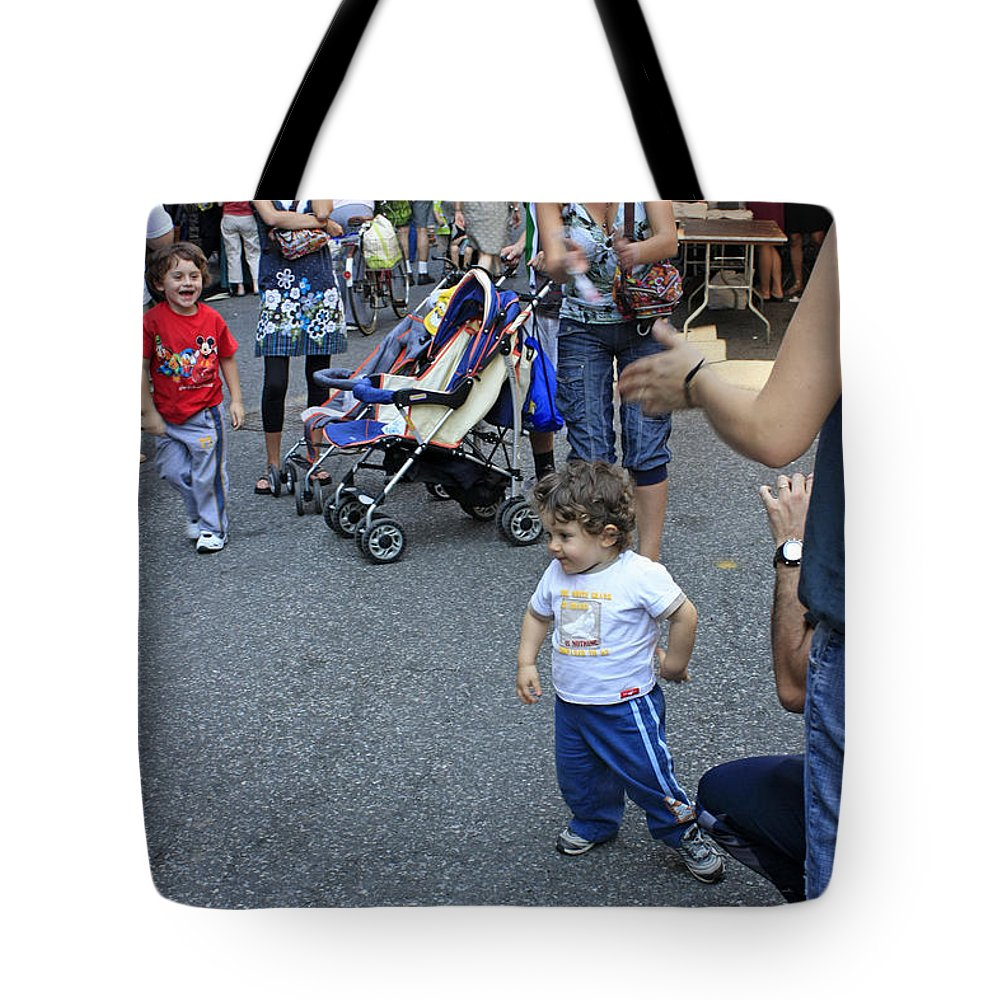 Child Tote Bag featuring the photograph A Little Boy Dancing At The 200th Anniversary Of St. Patrick Old Cathedral by James Connor