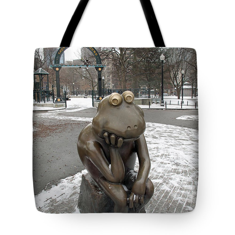 Frog Tote Bag featuring the photograph A Long Wait For Summer by Barbara McDevitt