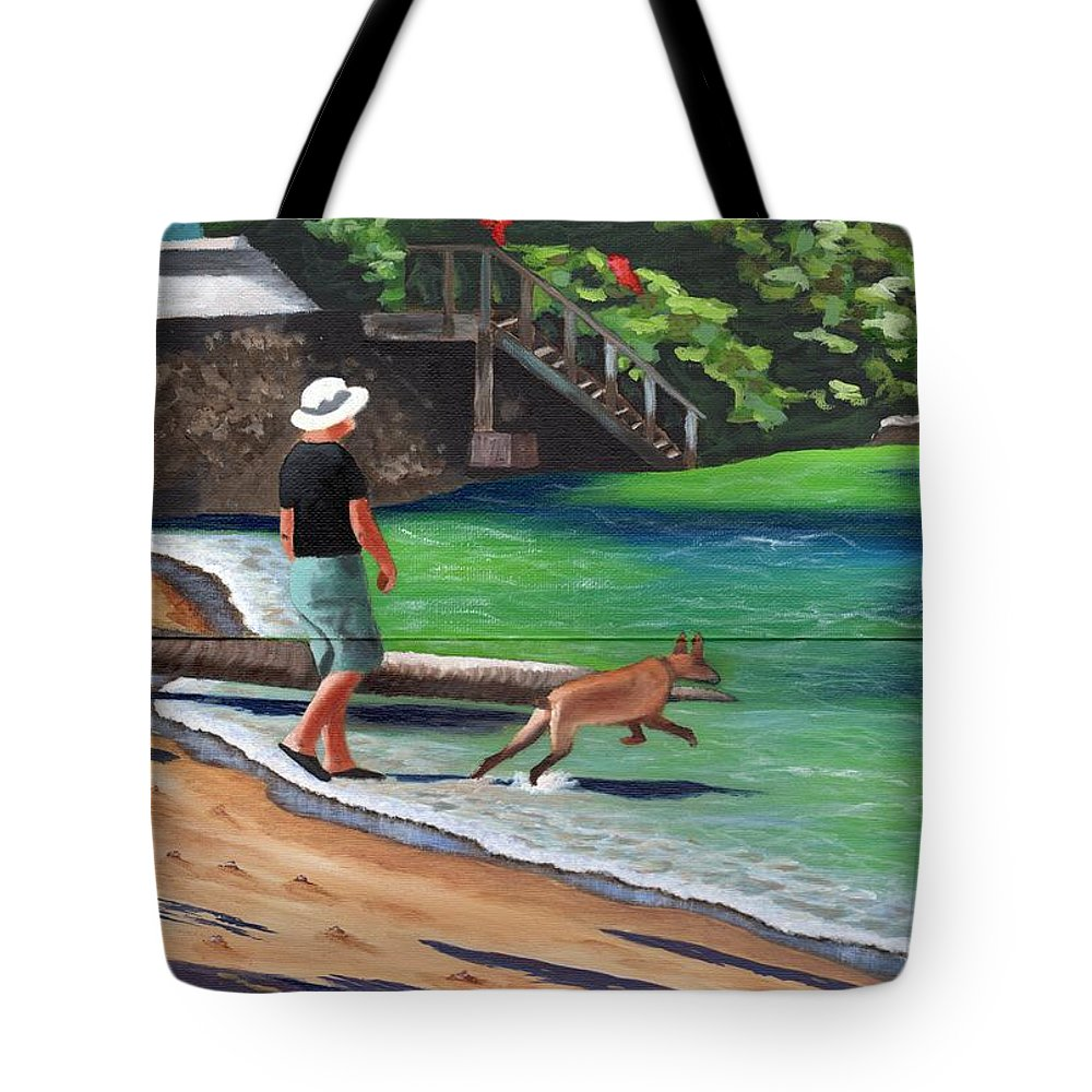 Man Tote Bag featuring the painting A Man And His Dog by Laura Forde