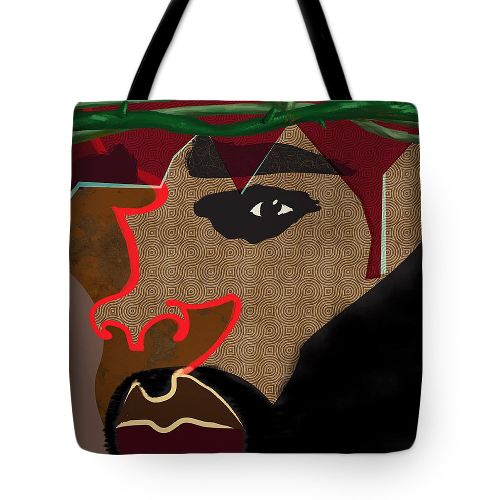 Jesus Tote Bag featuring the digital art A Man With A Crown by David James