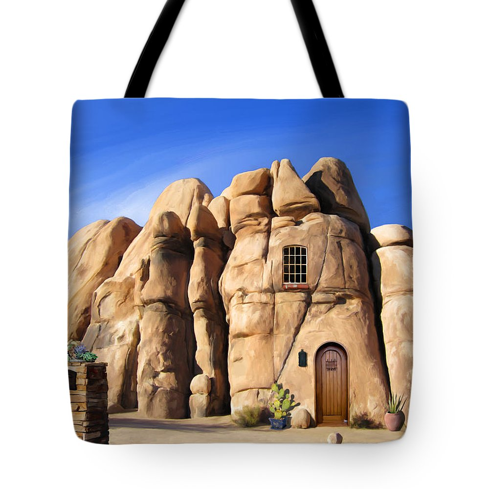 Joshua Tree Tote Bag featuring the painting A Man's Home Is His... by Snake Jagger