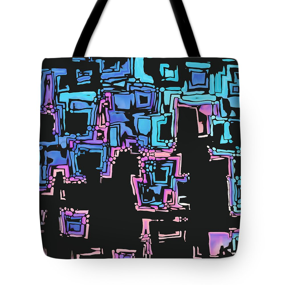 Abstract Tote Bag featuring the digital art A Maze Zing - 01c01 by Variance Collections