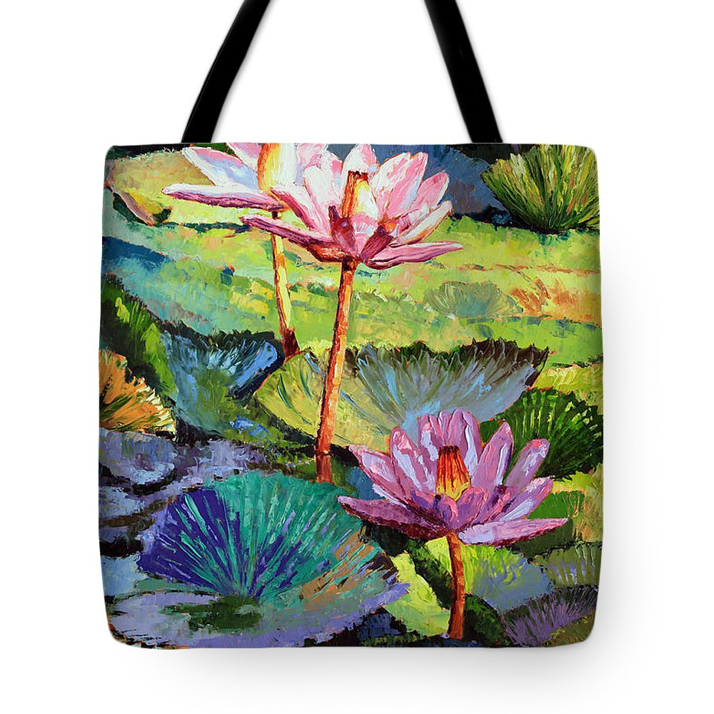 Water Lilies Tote Bag featuring the painting A Moment In Sunlight by John Lautermilch