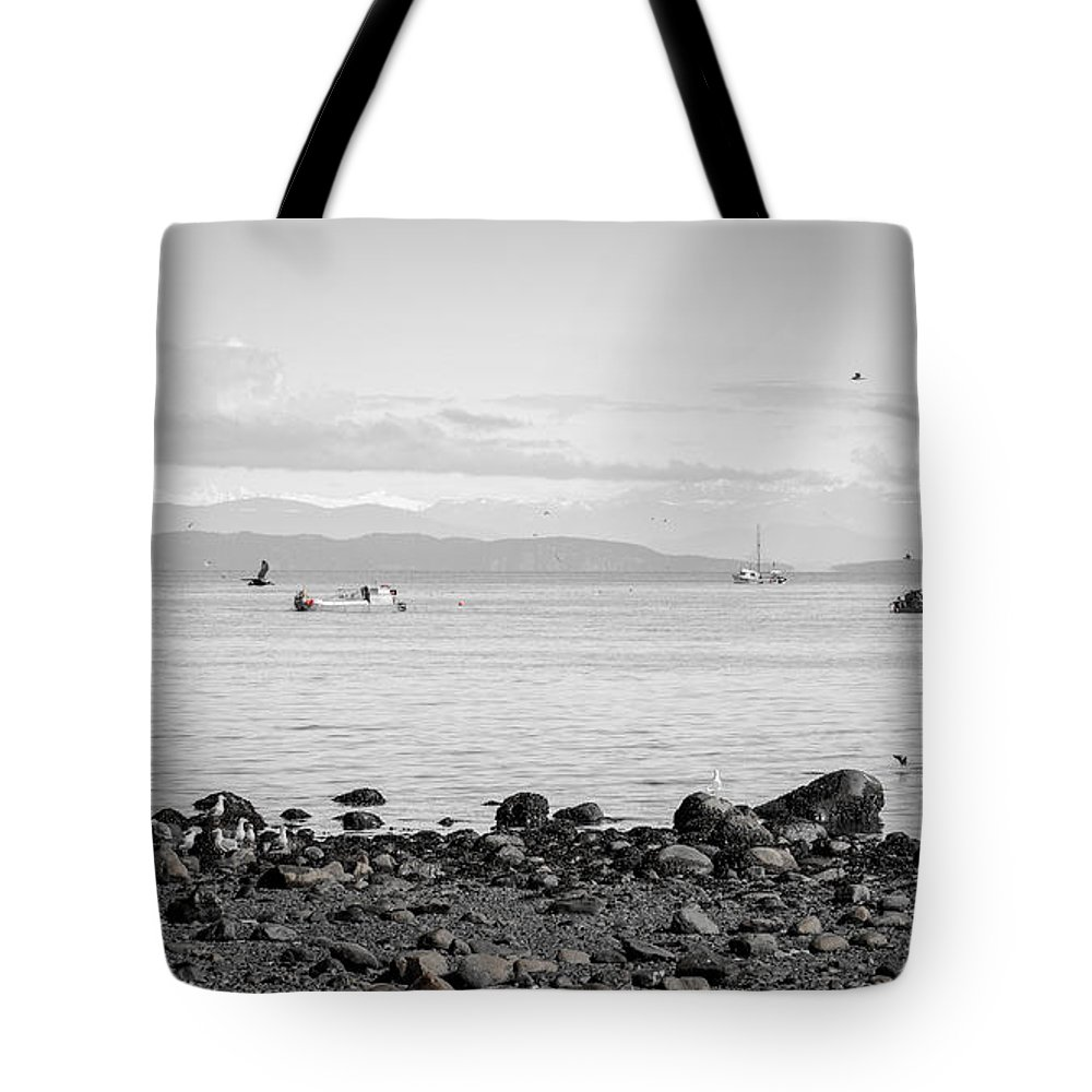 Seagulls Tote Bag featuring the photograph A Moment In Time Herring Season by Roxy Hurtubise