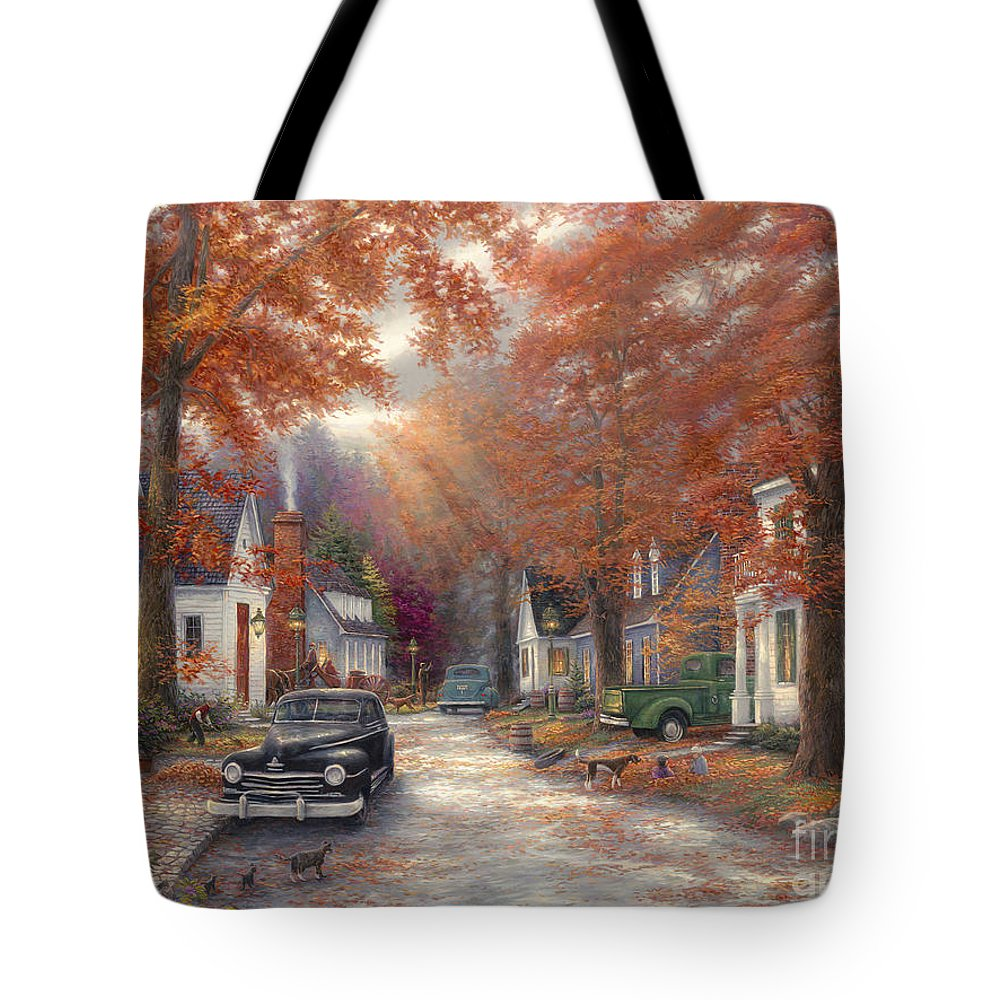 Americana Tote Bag featuring the painting A Moment On Memory Lane by Chuck Pinson