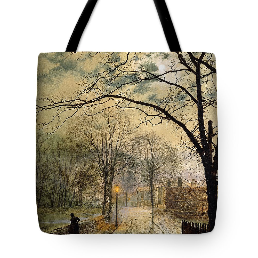 British Tote Bag featuring the painting A Moonlit Stroll Bonchurch Isle Of Wight by John Atkinson Grimshaw