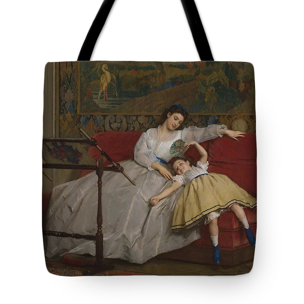 Gustave Tote Bag featuring the painting A Mother And Her Young Daughter by Gustave Leonard de Jonghe