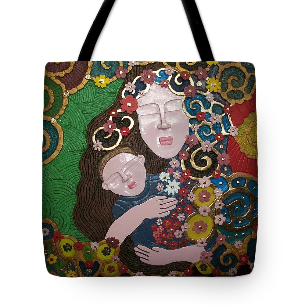 Handmade Papier Mache Tote Bag featuring the mixed media A Mother's Lullaby by Otil Rotcod