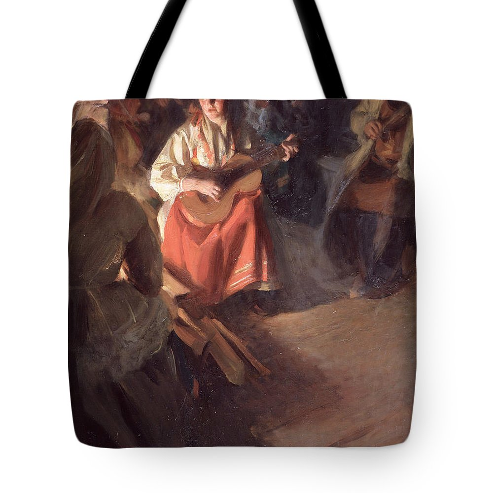 Anders Zorn Tote Bag featuring the painting A Musical Family by Anders Zorn