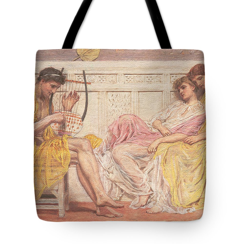 A Musician Tote Bag featuring the painting A Musician by Albert Joseph Moore