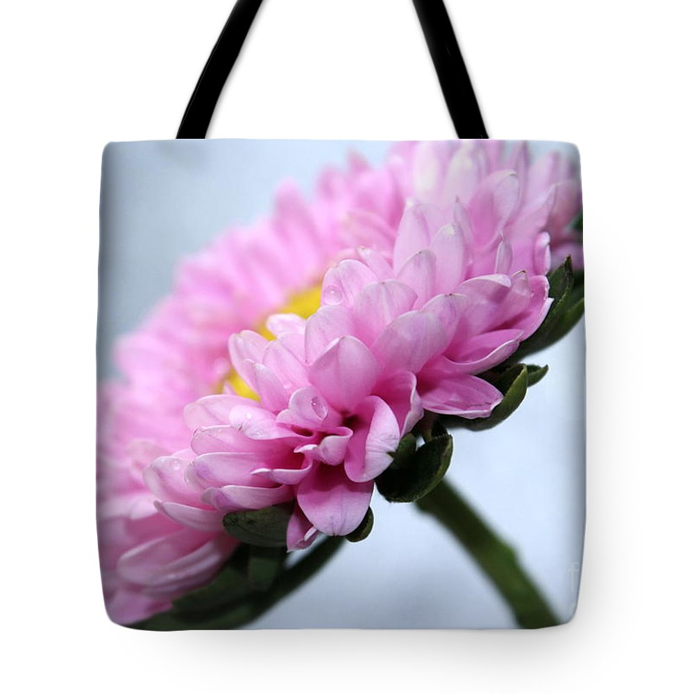 Pink Flower Tote Bag featuring the photograph A New Day by Krissy Katsimbras
