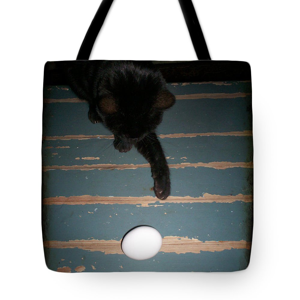 Egg Tote Bag featuring the photograph A New Kind Of Ball? by Absinthe Art By Michelle LeAnn Scott