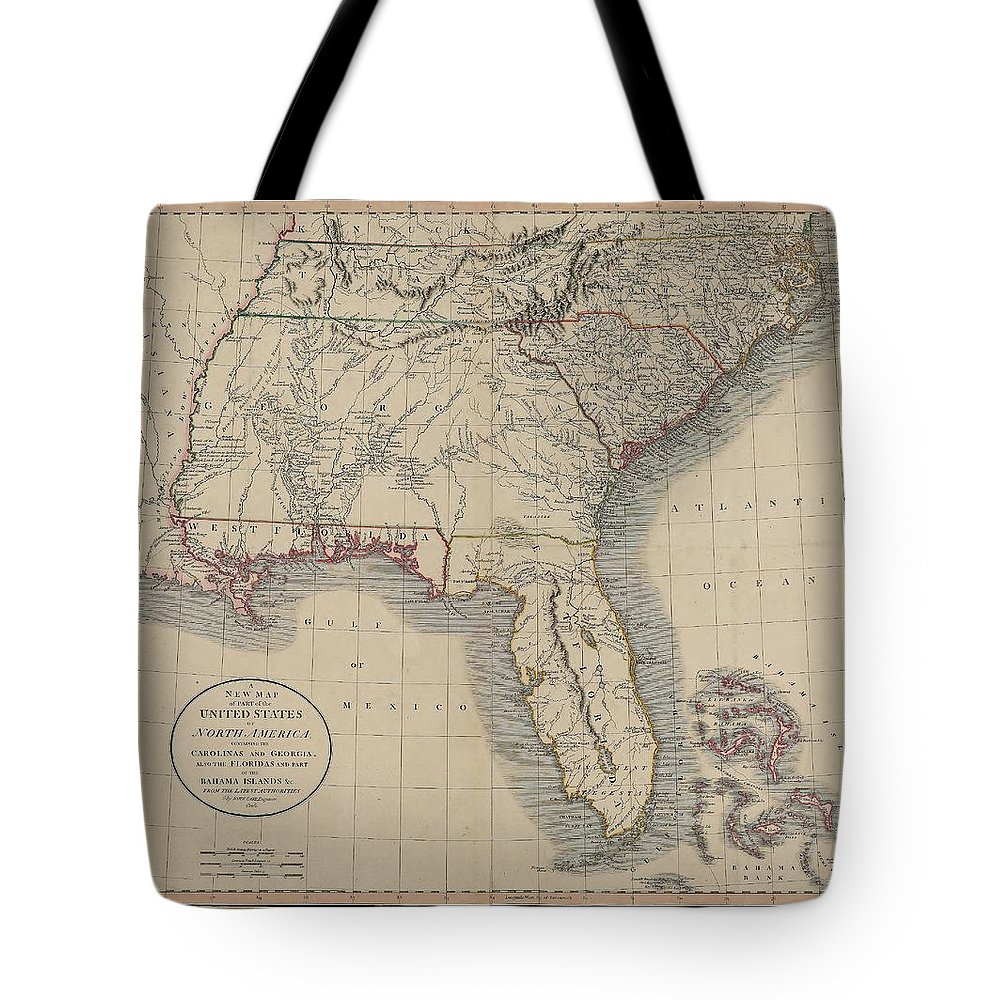 South Atlantic States Tote Bag featuring the drawing A New Map Of Part Of The United States Of North America by Cody Cookston