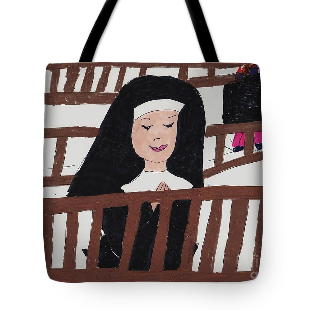 A Nun Praying In A Chruch Tote Bag featuring the mixed media A Nun In Prayer by Elinor Helen Rakowski