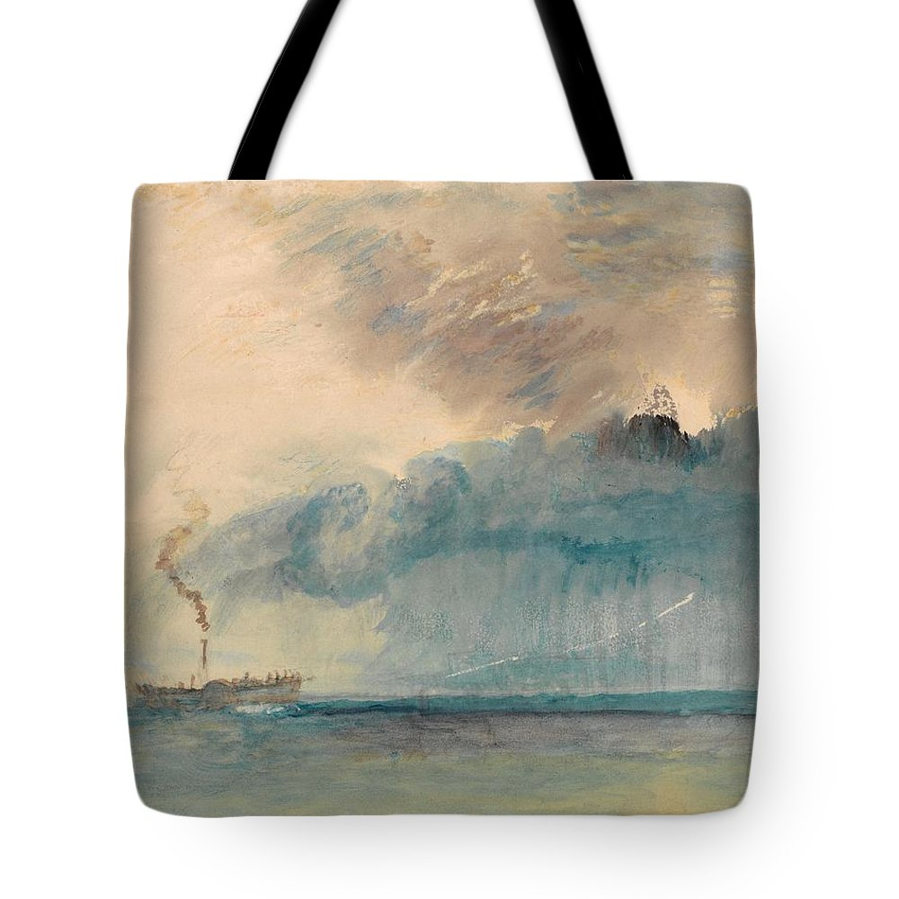 1841 Tote Bag featuring the painting A Paddle-steamer In A Storm by JMW Turner