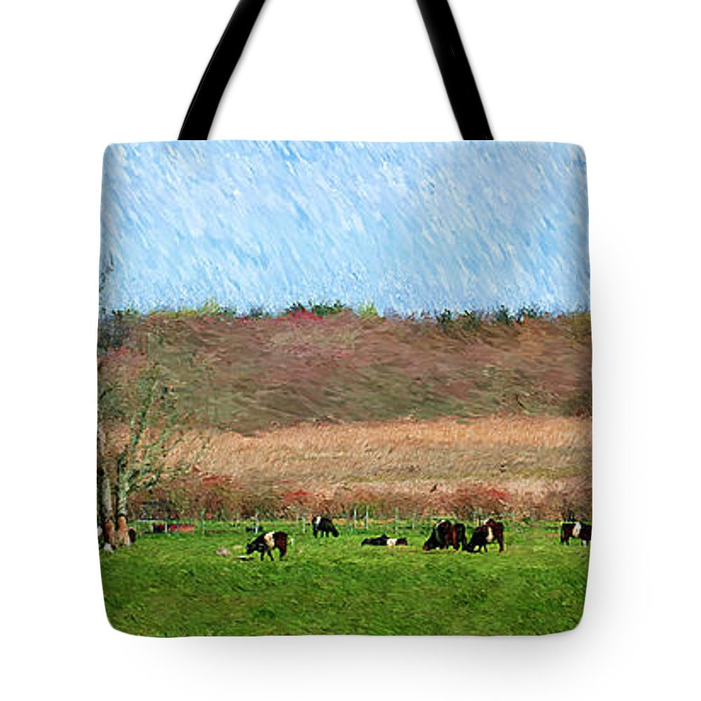 Cow Tote Bag featuring the photograph A Painting Cows Grazing And Newport Bridge by Mike Nellums