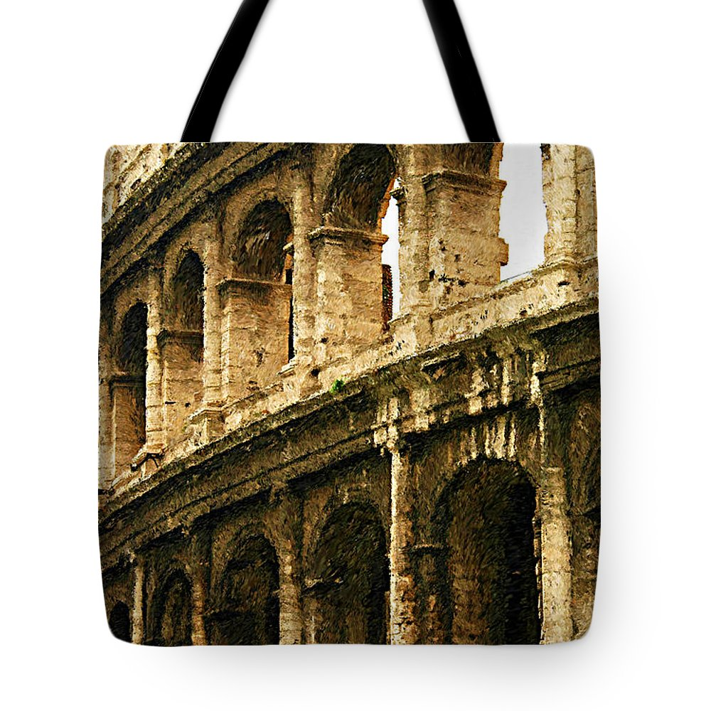 The Colosseum Tote Bag featuring the photograph A Painting The Colosseum by Mike Nellums