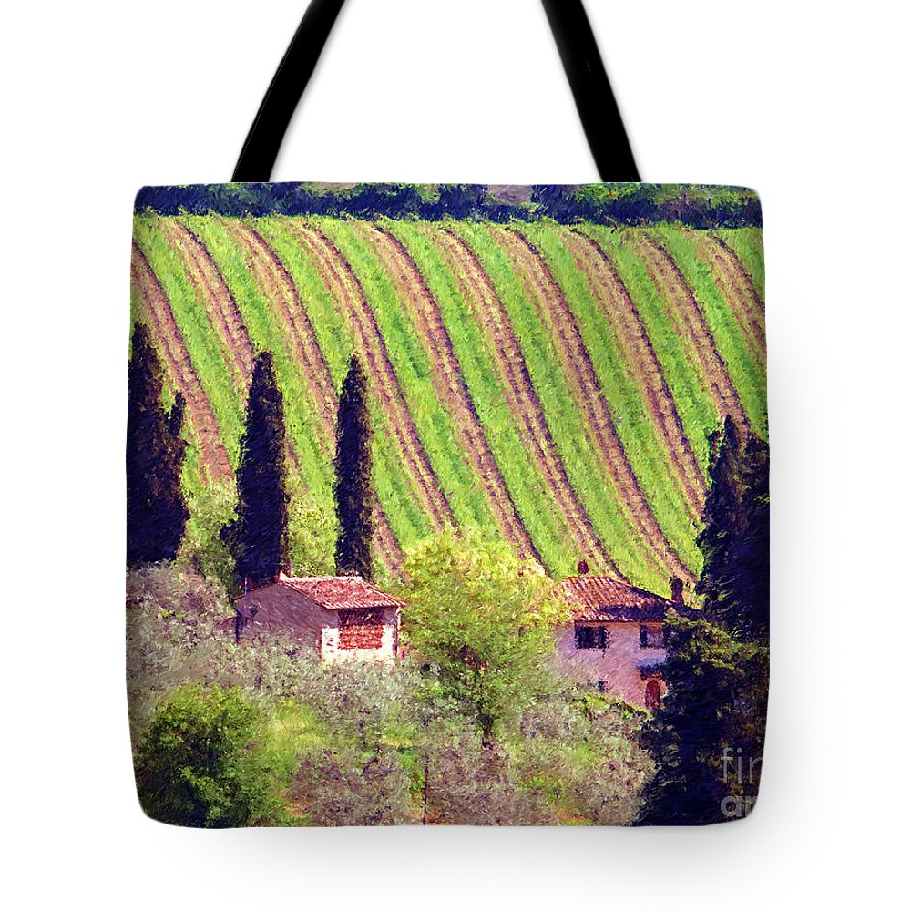 Tuscany Tote Bag featuring the photograph A Painting Tuscan Vineyard by Mike Nellums