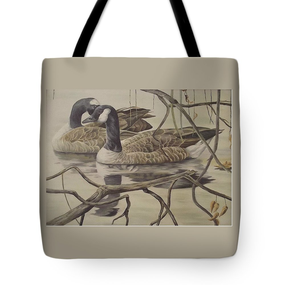 Water Tote Bag featuring the painting A Pair Of Ducks by Wanda Dansereau