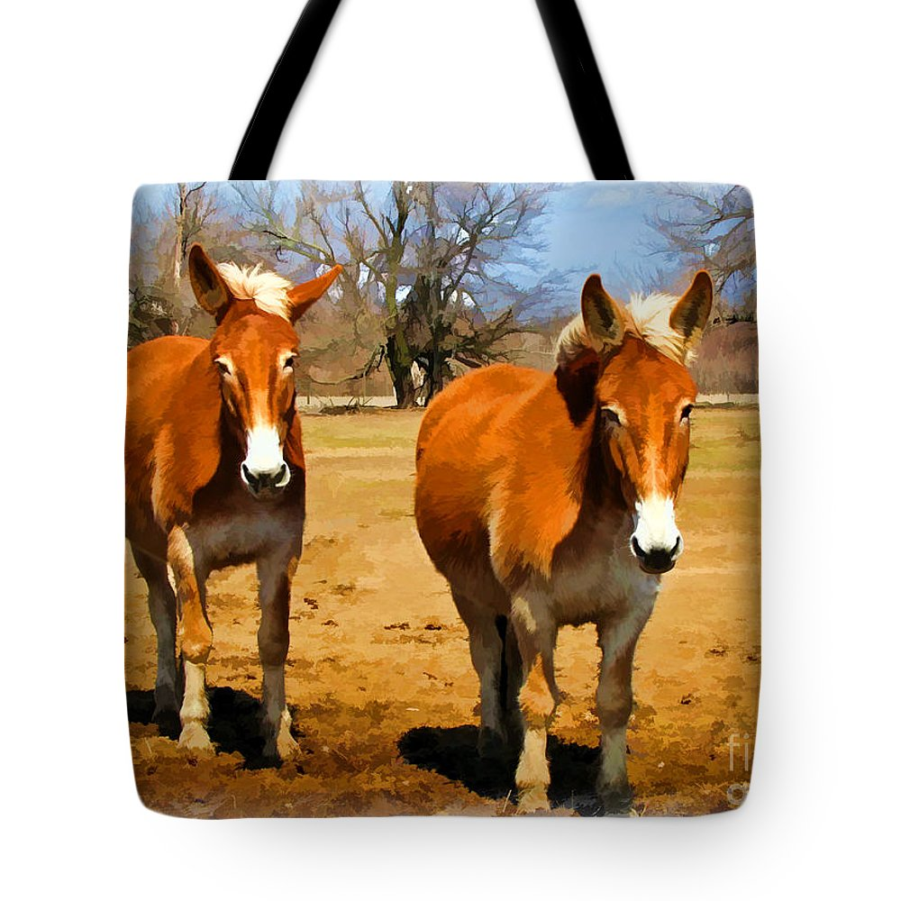 Nature Tote Bag featuring the photograph A Pair Of Mules Digital Paint by Debbie Portwood