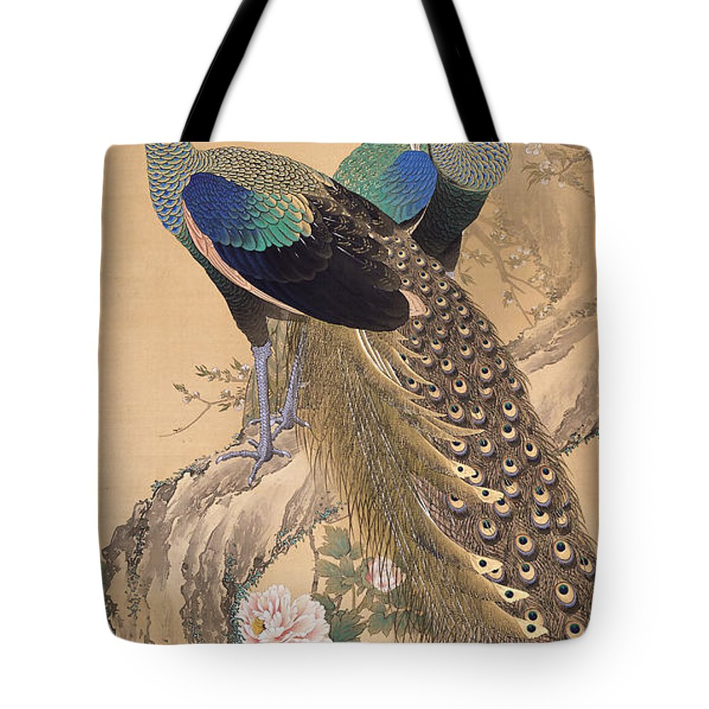 Imao Keinen Tote Bag featuring the painting A Pair Of Peacocks In Spring by Imao Keinen