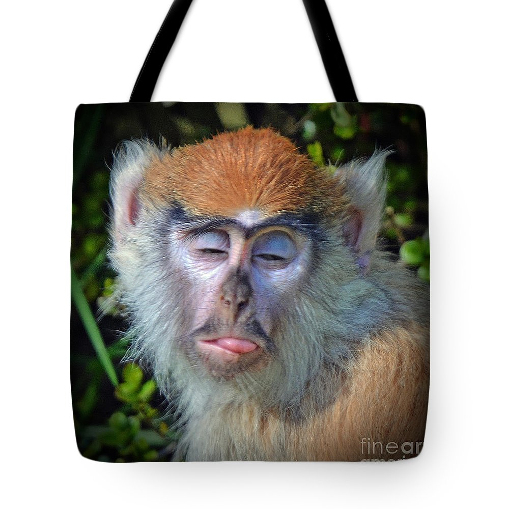 Patas Monkey Tote Bag featuring the photograph A Patas Baby Monkey Behaving Badly by Jim Fitzpatrick