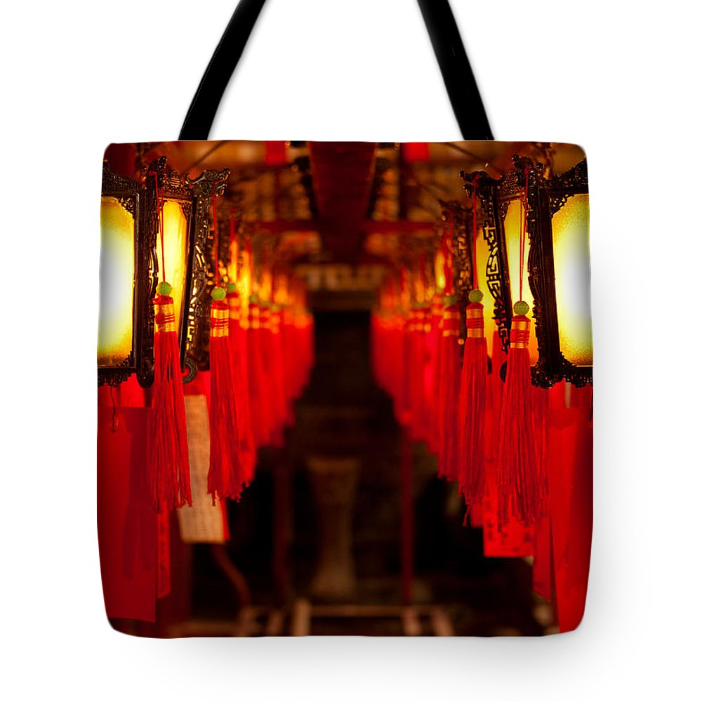 Loriental Tote Bag featuring the photograph A Path Of Light And Prayers by Loriental Photography