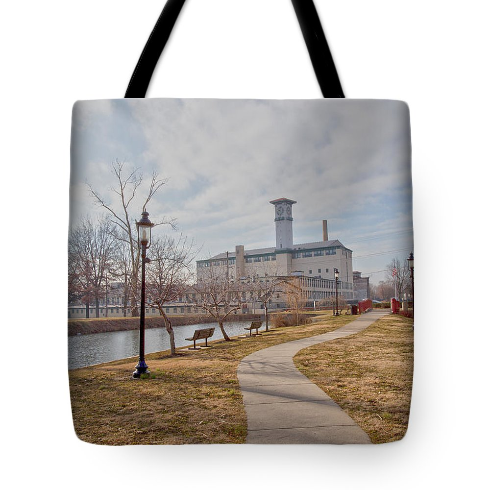 Grundy Mills Complex Tote Bag featuring the photograph A Path To The Factory by Tom Gari Gallery-Three-Photography