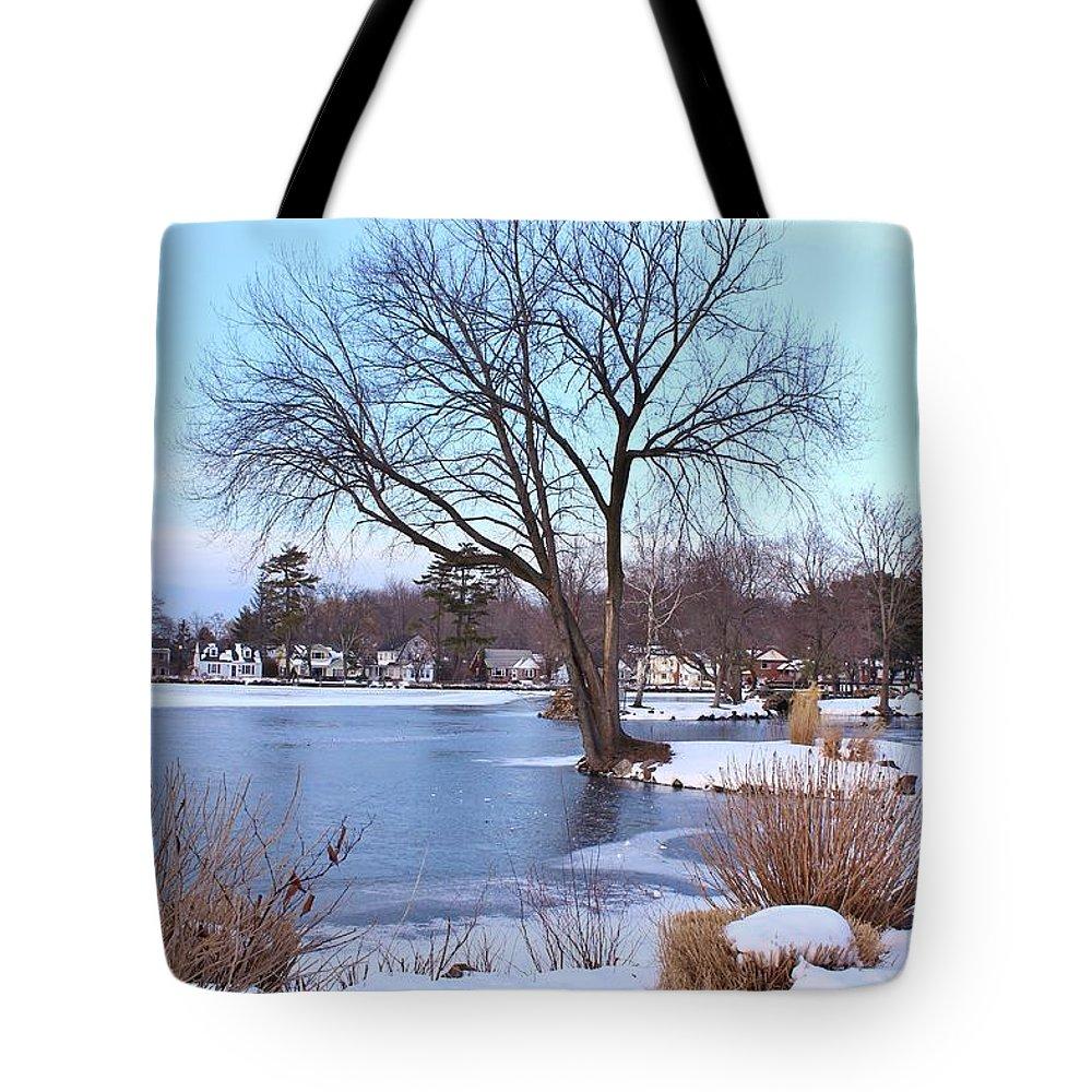 Karen Silvestri Tote Bag featuring the photograph A Peaceful Winter Day by Karen Silvestri